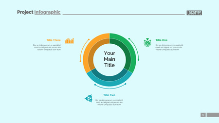 Three equal parts of pie chart slide template. Business data. Graph, diagram. Creative concept for infographic, presentation, report. Can be used for topics like marketing, research, company