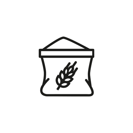 Flour package line icon. Bag, wheat, gain. Cooking concept. Vector illustration can be used for topics like agricultural store, food shop, bakery