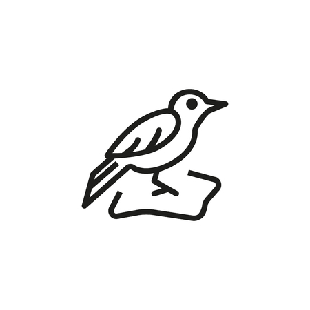 Blackbird line icon. Animal, nestling, ornithology. Nature concept. Vector illustration can be used for topics like wildlife, migration, springtime Ilustracja