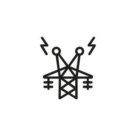 Icône de ligne de tour de télécommunication. Structure, connexion, antenne. Concept d'électricité. L'illustration vectorielle peut être utilisée pour des sujets tels que le récepteur, le fournisseur, l'énergie