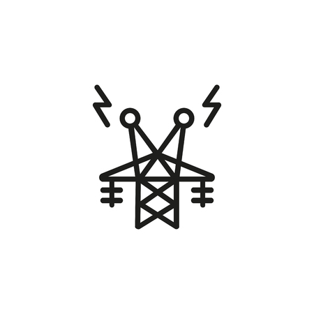 Telecommunication tower line icon. Structure, connection, antenna. Electricity concept. Vector illustration can be used for topics like receiver, provider, energy