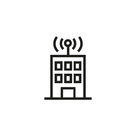 Wifi house line icon. Building, antenna, wireless waves. Transmitter concept. Vector illustration can be used for topics like smart home, telecommunication, control