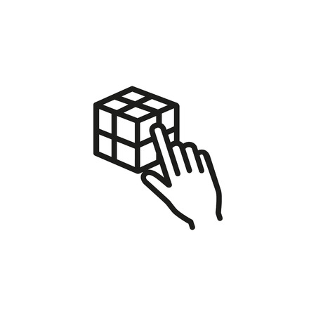 3D designing line icon. Hand, cube, logic. Design concept. Vector illustration can be used for topics like virtual reality, modelling, tactic