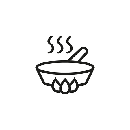 Frying pan line icon. Roasting, dishware, gourmet. Kitchen concept. Vector illustration can be used for topics like culinary, dinner, food