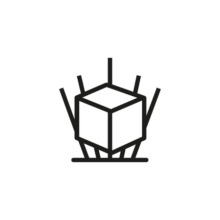 Holographic image line icon. 3D cube, magic, geometric shape. Innovative technology concept. Vector illustration can be used for topics like modelling, projection, design