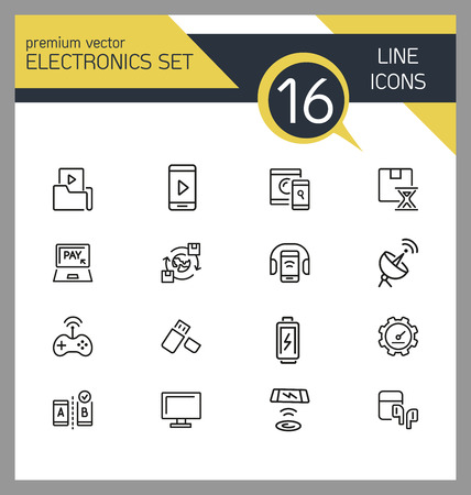 Electronics icons. Set of line icons. Mobile phone, data storage, satellite. Modern technology concept. Vector illustration can be used for topics like mobile service, apps, digital devices.  イラスト・ベクター素材