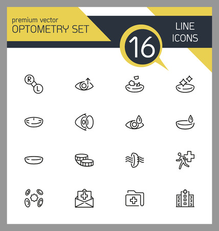 Optometry icons. Set of line icons. Contact lens, clinic, lens care. Eye sight concept. Vector illustration can be used for topics like vision, health care, ophthalmology. Illustration