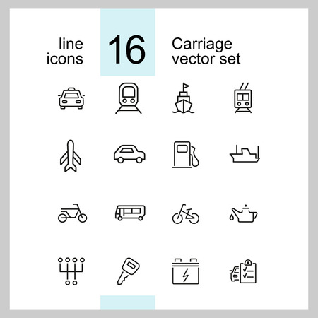Carriage icons. Set of line icons. Taxi, petrol station, car engine. Transport concept. Vector illustration can be used for topics like transportation, vehicle, travel Vector Illustration