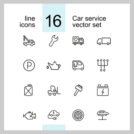 Car service icons. Set of line icons. Parking, gas station, engine. Auto repair concept. Vector illustration can be used for topics like service, transportation
