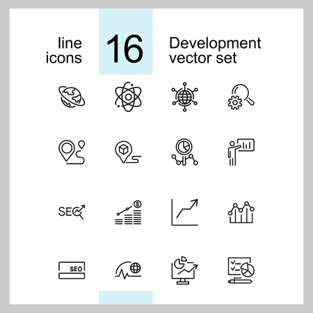 Development icons. Set of line icons. Growth chart, seo optimization, global business. Marketing concept. Vector illustration can be used for topics like business, management, planning Illusztráció