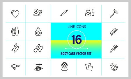 Body care icons. Set of line icons. Lipstick, powder, pillow. Beauty concept. Vector illustration can be used for topics like cosmetics, hygiene, beautician