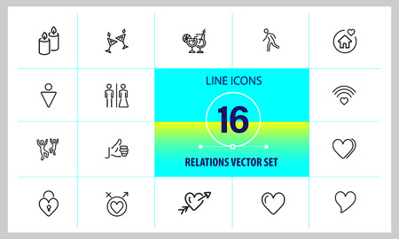 Relations icons. Set of line icons. Dancing, heart, toast. Love concept. Vector illustration can be used for topics like party, Valentines Day, romance