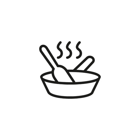 Stirring food line icon. Frying pan, dish, recipe. Culinary concept. Vector illustration can be used for topics like cooking, kitchen, dinner