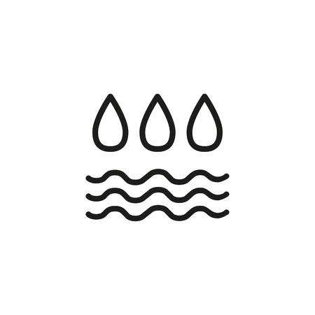 Icona della linea di umidità dell'aria. Gocce, onde, condensa. Concetto di atmosfera. L'illustrazione vettoriale può essere utilizzata per argomenti come il tempo, l'ambiente, l'ambiente Vettoriali