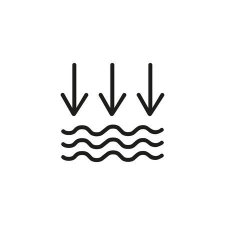 Atmospheric pressure line icon. Arrow, waves, sky. Nature concept. Vector illustration can be used for topics like meteorology, climate, prediction