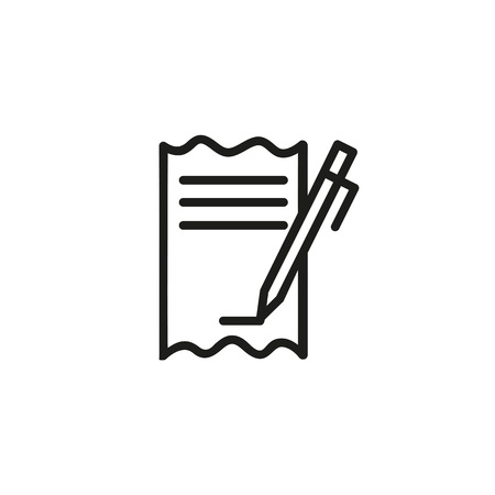 Pen signing bill line icon. Cheque, paycheck, transaction. Credit card concept. Vector illustration can be used for topics like banking, finance, shopping