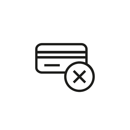 Transaction fail sign line icon. Credit card cancel, rejected payment, cashless card. Credit card concept. Vector illustration can be used for topics like banking, money, shopping