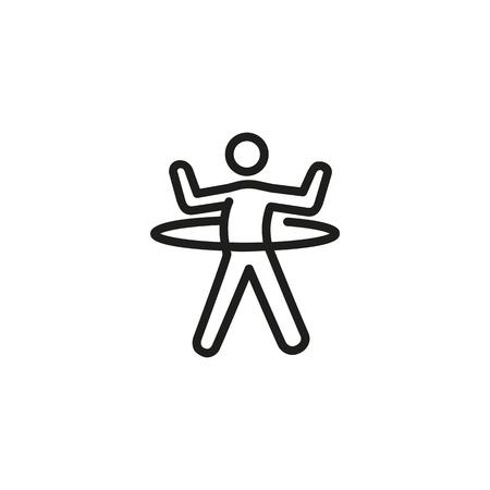 Icône de ligne de cerceau de rotation homme. Danse, gym, entraînement. Concept d'exercice. L'illustration vectorielle peut être utilisée pour des sujets tels que le sport, le mode de vie sain, le fitness