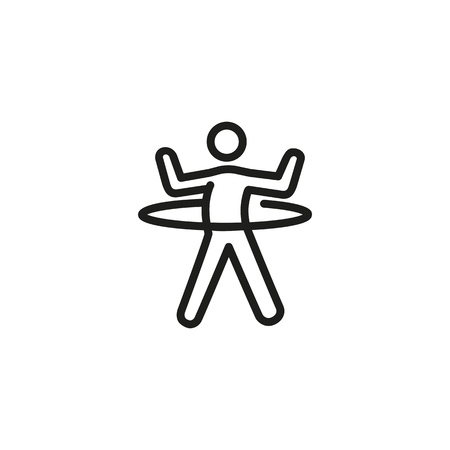 Man spinning hoop line icon. Dancing, gym, training. Exercise concept. Vector illustration can be used for topics like sport, healthy lifestyle, fitness