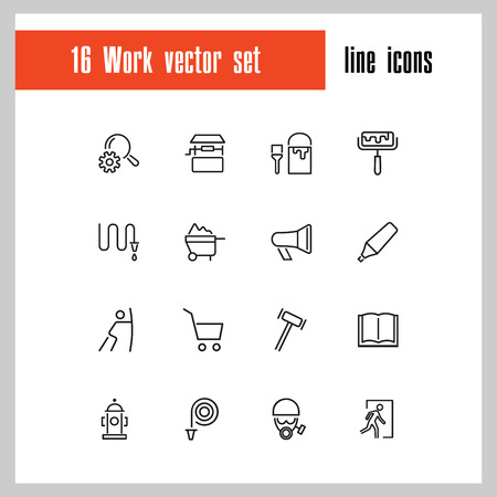 Work icons. Set of twenty line icons. Painter, hose, megaphone. Occupation concept. Vector illustration can be used for topics like service, business Çizim