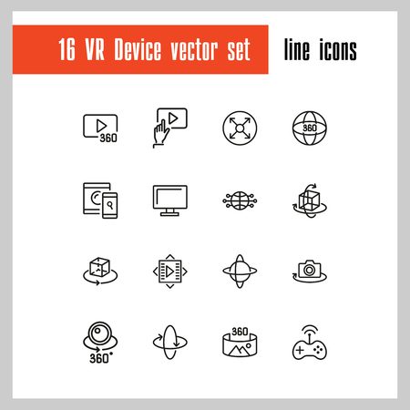 VR Device icons. Set of line icons. Panoramic camera, screen, gaming. Virtual reality concept. Vector illustration can be used for topics like modern technology, photography, panorama Ilustração