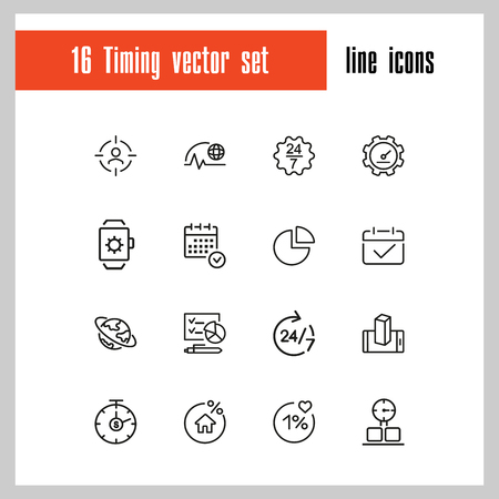 Timing icons. Set of line icons. All the day, deadline, schedule. Time management concept. Vector illustration can be used for topics like business, management, efficiency