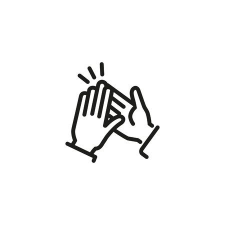 Clapping hands line icon. Greeting, congratulating, friendship. Feedback concept. Vector illustration can be used for topics like communication, business, social networking