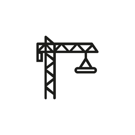 Construction crane line icon. Construction site, housing development, building. Construction concept. Vector illustration can be used for topics like architecture, engineering, industry  イラスト・ベクター素材