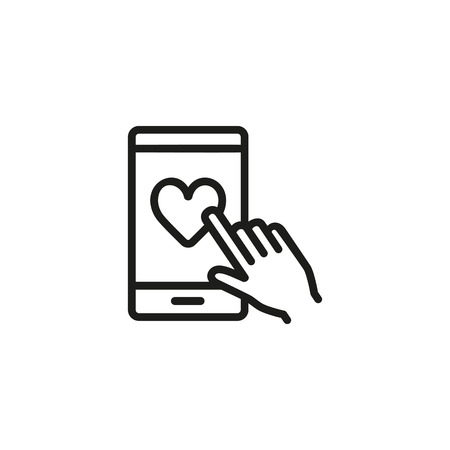 Hand clicking heart sign on cellphone line icon. Liking, rating, approval. Feedback concept. Vector illustration can be used for topics like social networking, mobile application, communication Иллюстрация