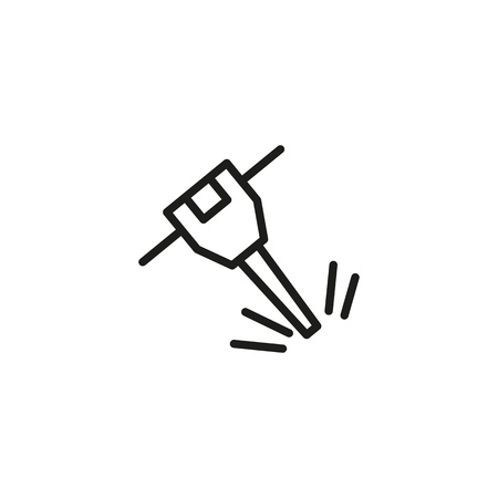 Jackhammer line icon. Roadwork, demolition, repair work. Construction concept. Vector illustration can be used for topics like building, technology, mining