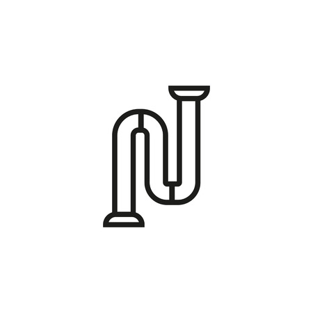 Sewer pipe line icon. Water pipe, plumber, bathroom. Construction concept. Vector illustration can be used for topics like service, sanitation, hygiene