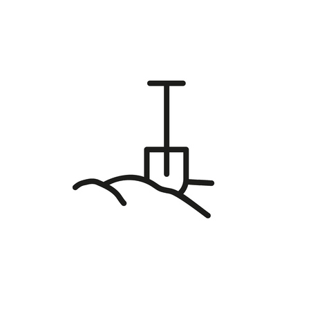 Spade in ground line icon. Digging activity, gardening, grave. Construction concept. Vector illustration can be used for topics like building, agriculture, archeology