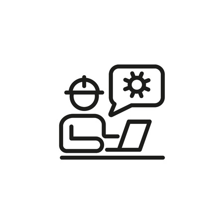Workman at laptop with cogwheel sign line icon. Computer repair, SEO optimization, IT support. Engineering concept. Vector illustration can be used for topics like service, technology, construction Illustration