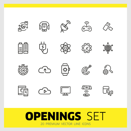 Openings icons. Set of  line icons. Networking, phone with headphones, browser. Internet and wireless technology concept. Vector illustration can be used for topics like technology, applications