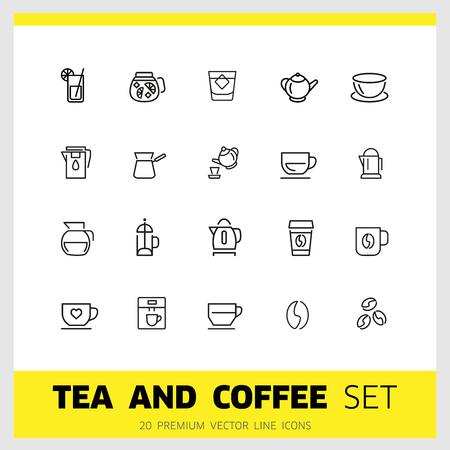 Icone di tè e caffè. Set di icone di linea. Tazza da tè, chicco di caffè, teiera. Concetto di bevanda. L'illustrazione vettoriale può essere utilizzata per argomenti come bevande, attrezzatura da cucina, caffè Vettoriali