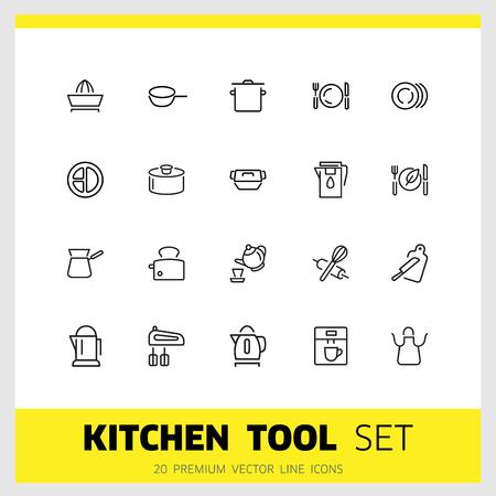 Icone dello strumento della cucina. Set di icone di linea. Tostapane, frullatore, grembiule. Concetto di utensili. L'illustrazione vettoriale può essere utilizzata per argomenti come la cucina, l'attrezzatura da cucina