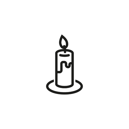 Burning candle line icon. Flame, wax, memorial. Halloween concept. Vector illustration can be used for topics like church, religion, spirituality