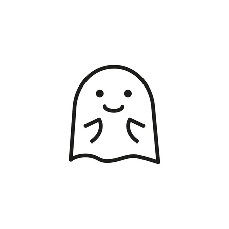 Ghost in anticipation line icon. Gossip, shock, amazed. Halloween concept. Vector illustration can be used for topics like awe, emotion, phantom