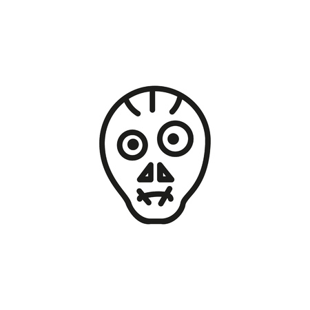 Ugly face with sewn mouth line icon. Mouth shut, monster, horror. Halloween concept. Vector illustration can be used for topics like scary, masquerade, party