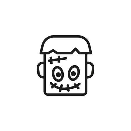 Icône de ligne laid Frankenstein. Tête, effrayant, cicatrice. Concept de personnage. L'illustration vectorielle peut être utilisée pour des sujets tels que Halloween, dessin animé, soirée