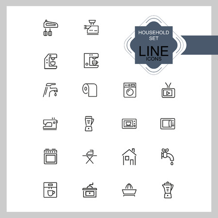 Household icons. Set of  line icons. Washing machine, TV set, sewing machine. Domestic appliances. Vector illustration can be used for topics like housework, housekeeping, technology Çizim