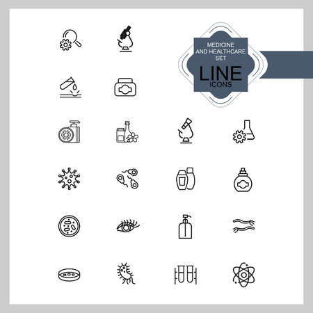Medicine and healthcare icons. Set of  line icons. Bacteria, corrosion, microscope. Science concept. Vector illustration can be used for topics like microbiology, research, pharmaceutics Stock Vector - 107370314