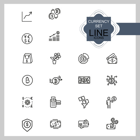 Currency icons. Set of line icons. Credit card, bitcoin, shopping. Finance concept. Vector illustration can be used for topics like business, banking, economics 向量圖像
