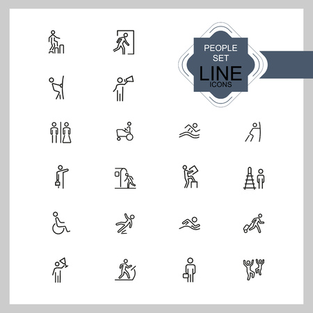 People icons. Set of line icons. Swimming, metro station, exit. Public pictograms concept. Vector illustration can be used for topics like attention signs, public services Illustration