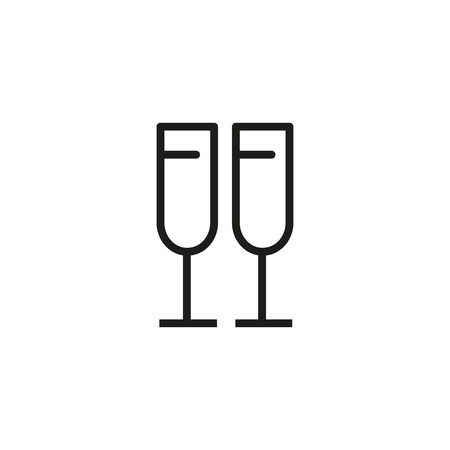 Flutes line icon. Champagne, beverage, toast. Wedding concept. Vector illustration can be used for topics like celebration, anniversary, party