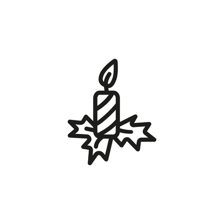 Christmas candle line icon. Flame, eve, decoration. Christmas concept. Vector illustration can be used for topics like new year, celebration, winter