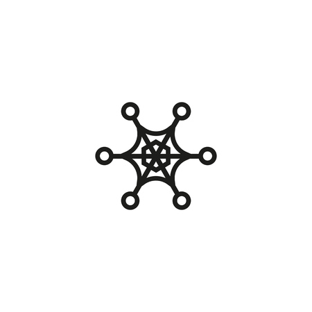 Star-shaped snowflake line icon. Pattern, frostwork, snow. Winter concept. Vector illustration can be used for topics like holiday, design, weather  イラスト・ベクター素材