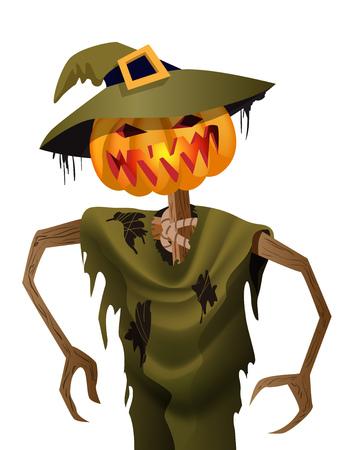 Spaventapasseri spaventoso della zucca in cappello Illustrazione piana di vettore del personaggio dei cartoni animati di Halloween. Concetto di festa di Halloween.