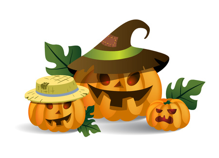 Three smiling spooky pumpkins in hats. Halloween cartoon characters isolated flat vector illustration. Halloween party concept.