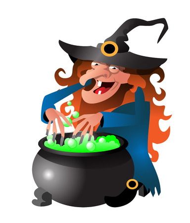 Witch preparing potion in cauldron. Halloween cartoon character flat vector illustration. Halloween party concept.